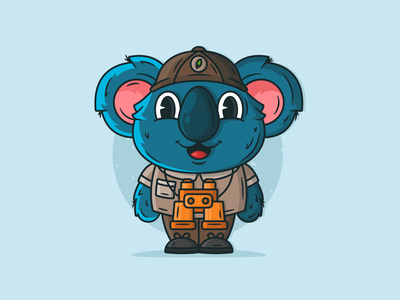 Koala explorer character design cartoon cute cartoon cute animal animal koala koala bear lineart creative character icon cute graphic flat design dribbble vector illustration design branding