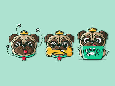 Pug cute illustration puppy working crab crown bone dog pug laptops cute animal graphic animal character cute flat design dribbble vector illustration design branding