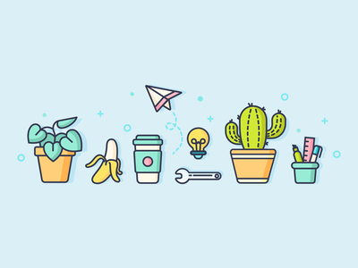 Office Icons dribbble stationery plant office minimal lineart icon set graphic fun flat cute coffee business cactus vector illustration icon design branding banana