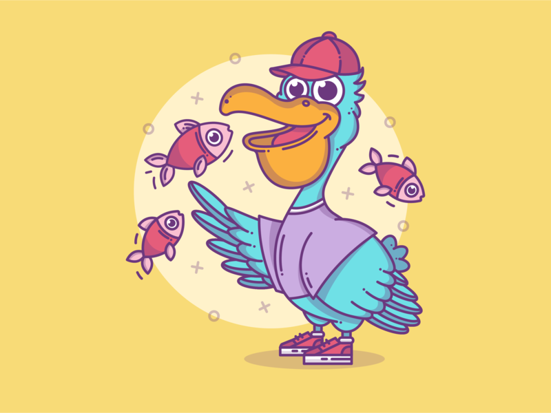 Pelican 🐟 blue vector design fish bird blog minimal lineart animal flat design graphic branding line dribbble character flat cute vector illustration icon design