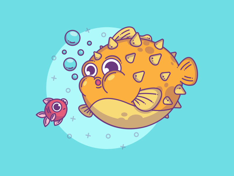 Pufferfish 🐡 blue illustrator lineart ocean sea creative fish character design graphic flat design branding character line flat dribbble cute vector illustration icon design