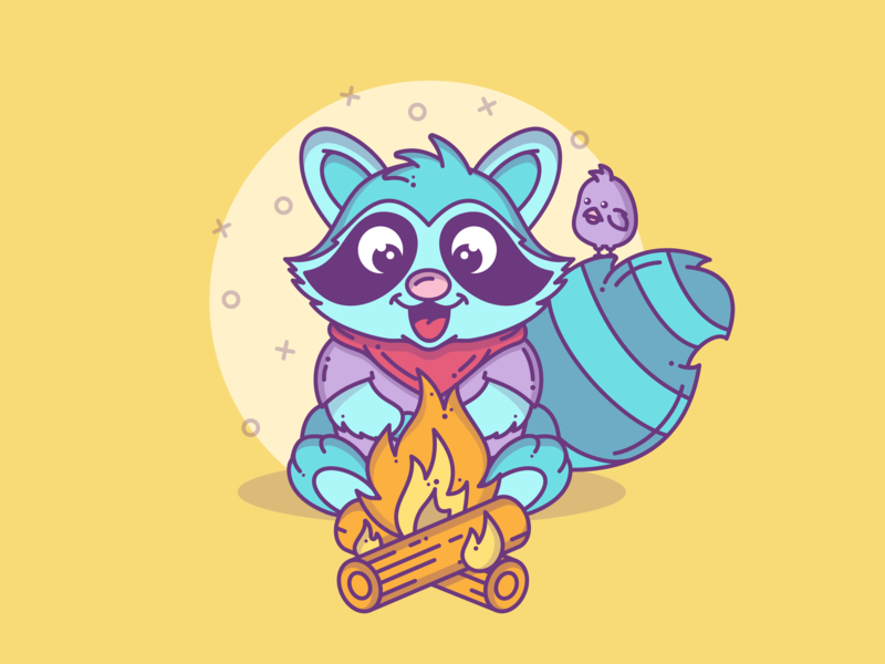 Raccoon Part 2 blog graphic design branding creative bird raccoon animal flat design minimal character lineart graphic line flat dribbble cute vector illustration icon design