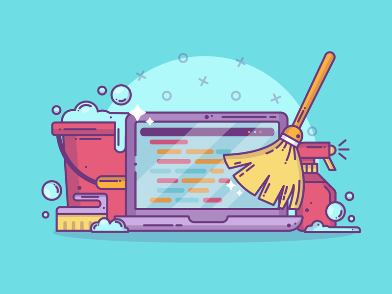 Cleaning Code work graphic design blog creative blue cleaning code developer tech computer lineart graphic flat design flat dribbble vector illustration icon design branding