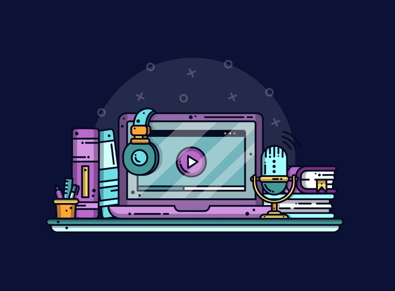🎙Podcast minimal podcast work business illustrator creative headphones tech laptop music line lineart graphic dribbble flat design illustration icon vector design branding