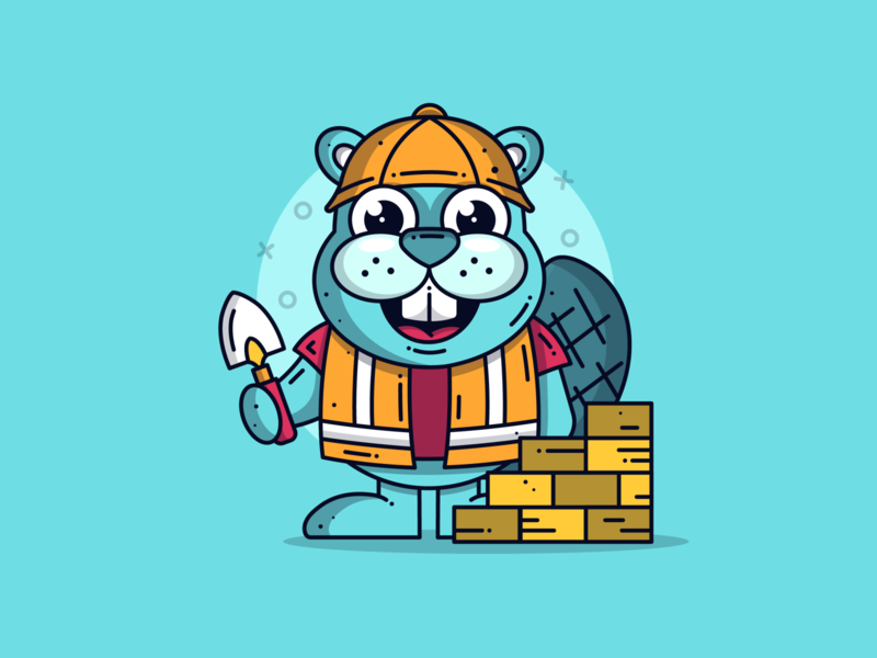 Bob the Beaver character design blue creative builder blog cute art beaver animal cute animal character graphic dribbble cute flat design illustration icon vector design branding