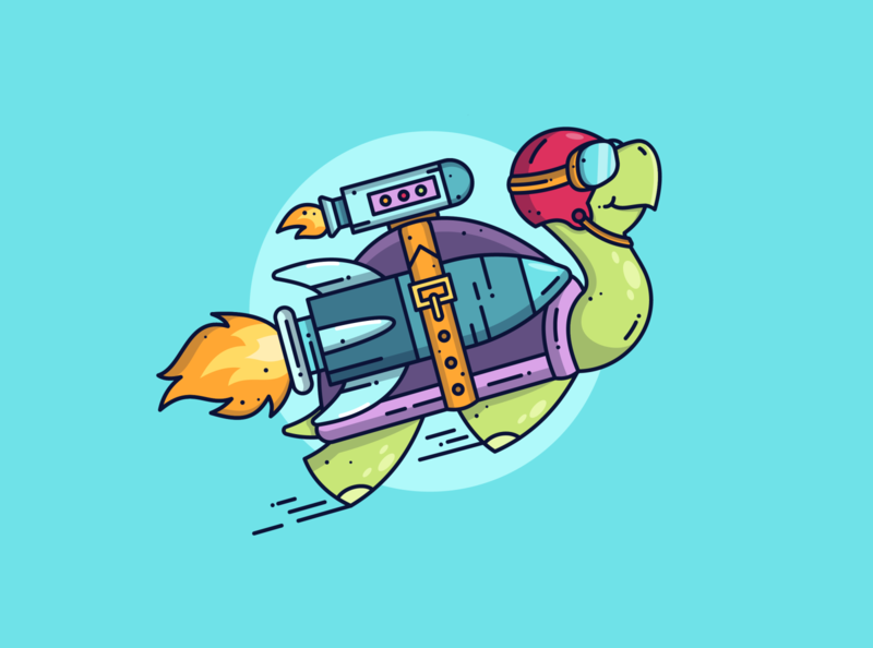 Tortoise 🐢 line brand blog flying rocket cute animals character design turtle flat lineart character graphic dribbble cute flat design illustration icon vector design branding