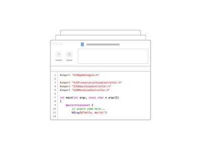 Xcode Illustration flat outline illustration xcode vector code development ios design