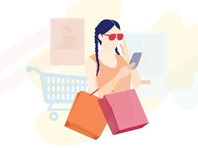 Online Shopping Girl Illustration