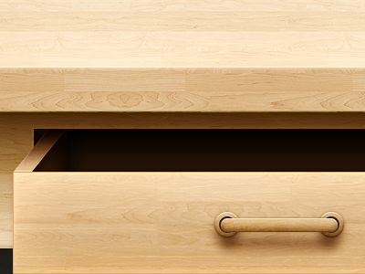 Open drawer drawer desk skeuomorphic design light illustration drawers realistic wood texture handle open shadow