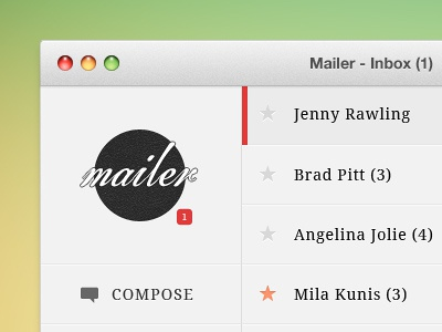 Mailer Desktop app application email client desktop design ui ux css3 html5 user interface clean