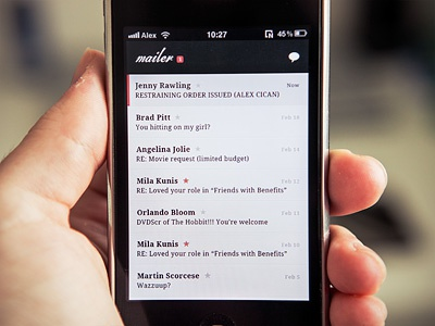 Mailer Inbox mailer app application email client mobile interface ui design ios iphone