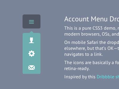 Account Menu Dropdown CSS3 & HTML5 html5 css3 design coding experiment web demo dropdown menu code minimal flat