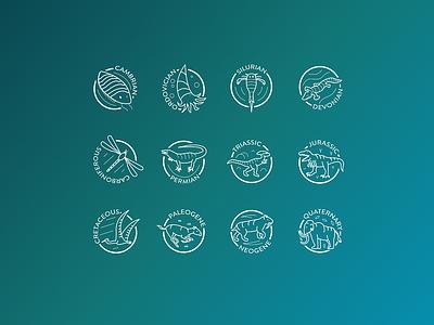 Epochs of Evolution Icon Set vector icons iconography icon set animal thin
