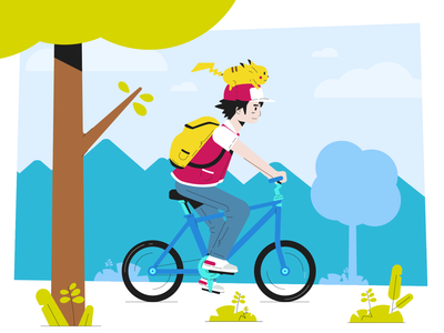 Bicycle character flat vectors illustrator adobe illustrator adobe vector illustration design