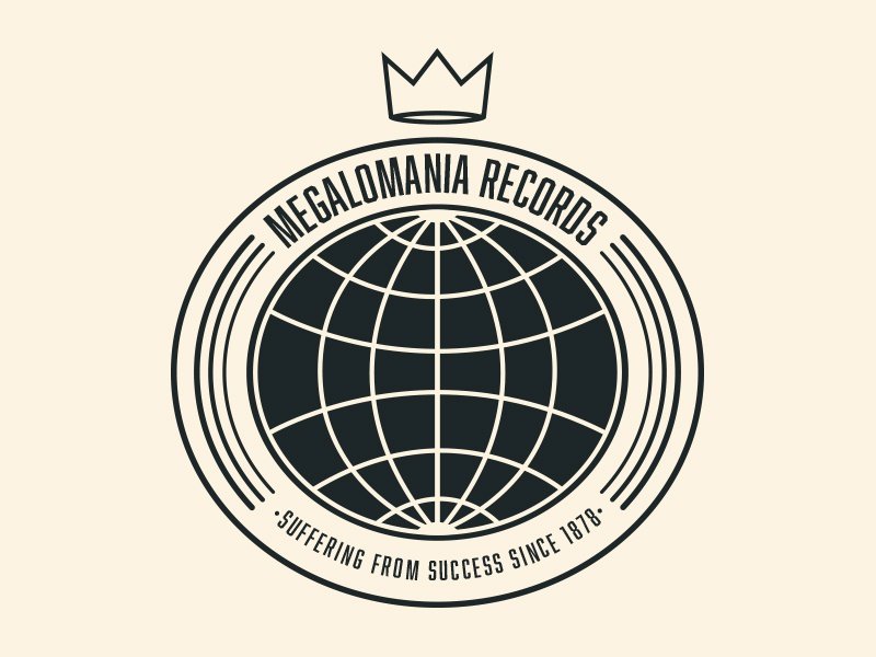 Megalomania Records logo branding logotype retro globe earth megalomania