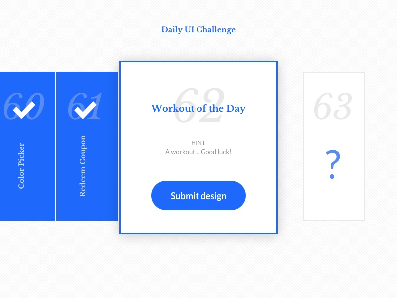 DailyUI #062 - Workout of the Day day workout 62 challenge design ui daily dailyui