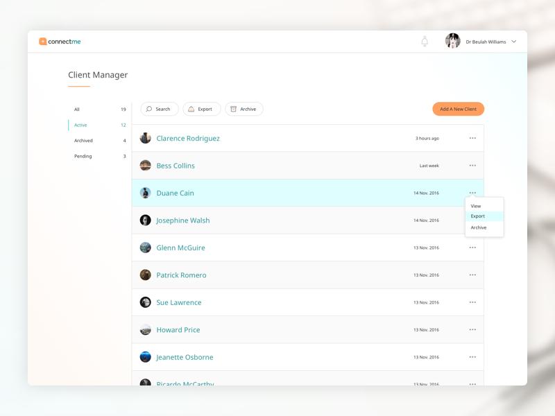 Connectme - Clientlist dashboard patient health healthshare connectme
