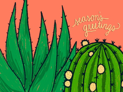 SeasonsGreetings2018 succulent cactus procreate graphic design design illustration