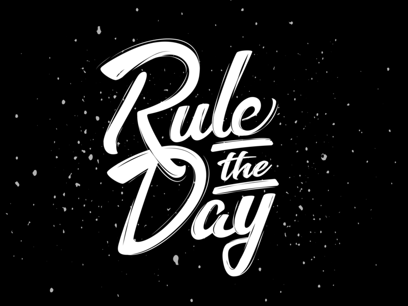 Rule The Day black  white hand crafted brush calligraphy brush font reign type typography text drawing vector illustration design