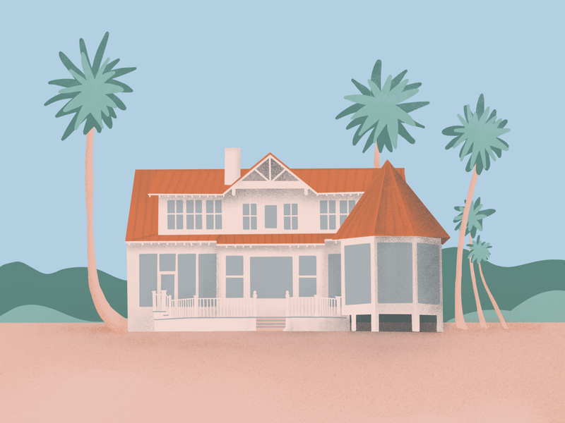 Beach House procreate palm tree palm trees house beach house beach architecture illustration
