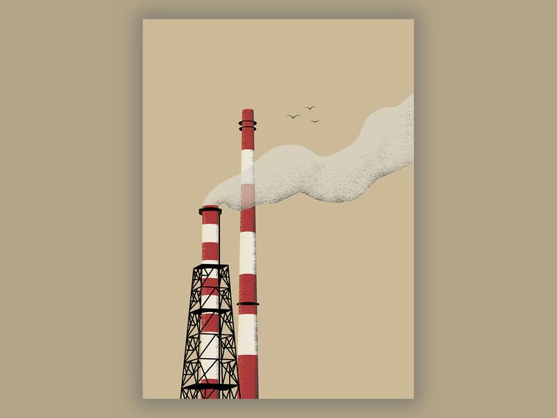 Chimneys power plant wroclaw vintage nadodrze architecture vector design illuatration city minimal art fog smoke chimney