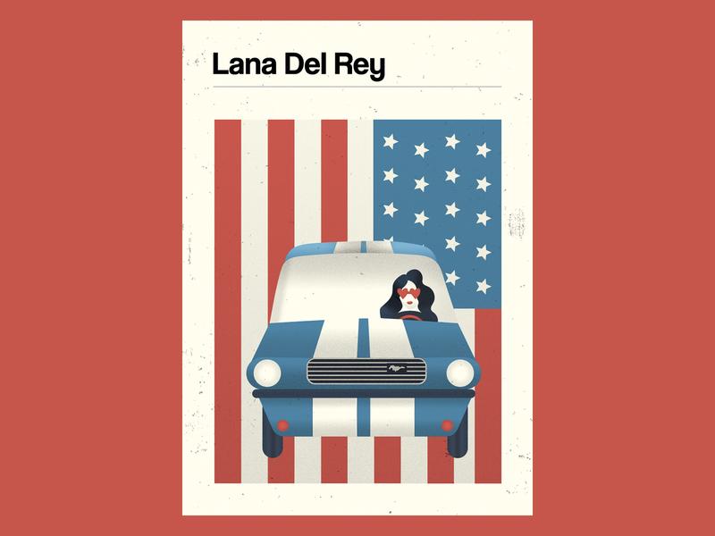 Lana Del Rey Poster tricolor roadtrip usa american pop star lana del rey ford mustang retro design vector illustration
