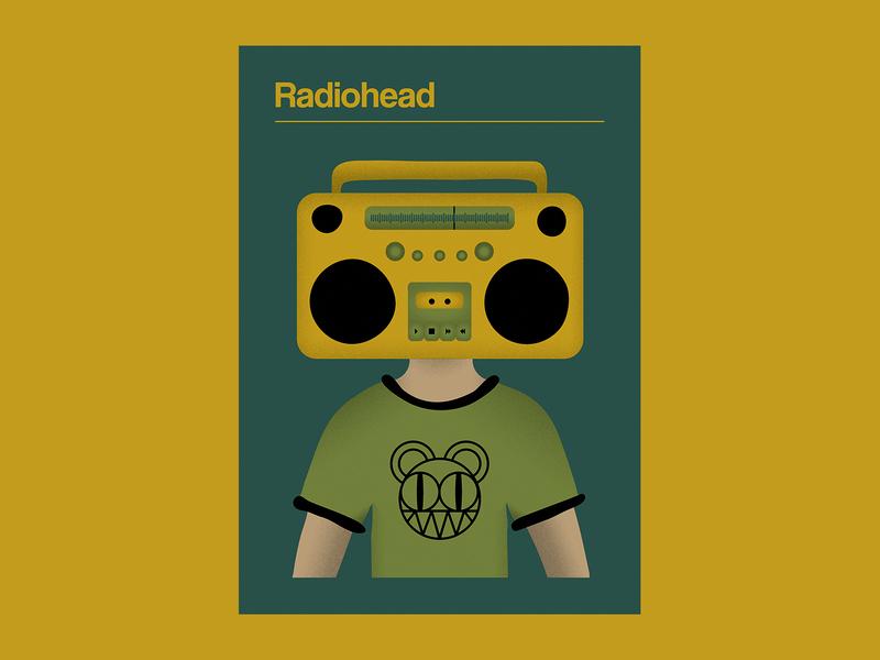 Radiohead Poster poster design poster art limited color radiohead music poster gig poster design vector illustration