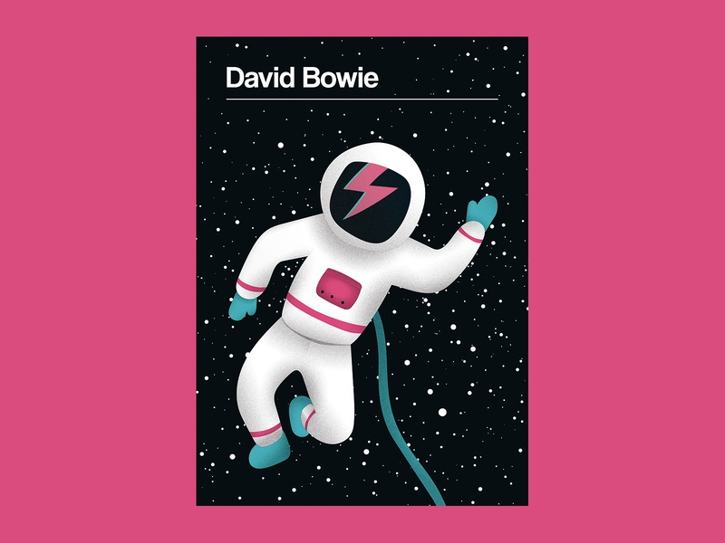 David Bowie Poster poster art gig posters music poster gig poster bowie cosmos cosmonaut major tom david bowie astronaut space design vector illustration
