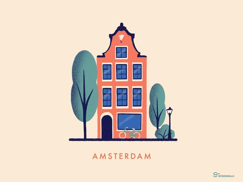 Amsterdam city print city illustration tree building bike amsterdam architecture design illustration