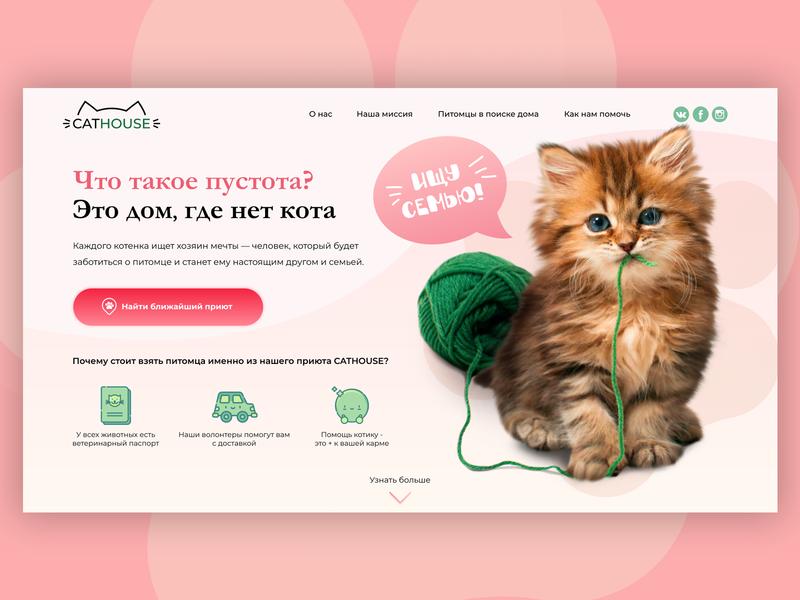 Web-design concept for animal shelter cat design website web design