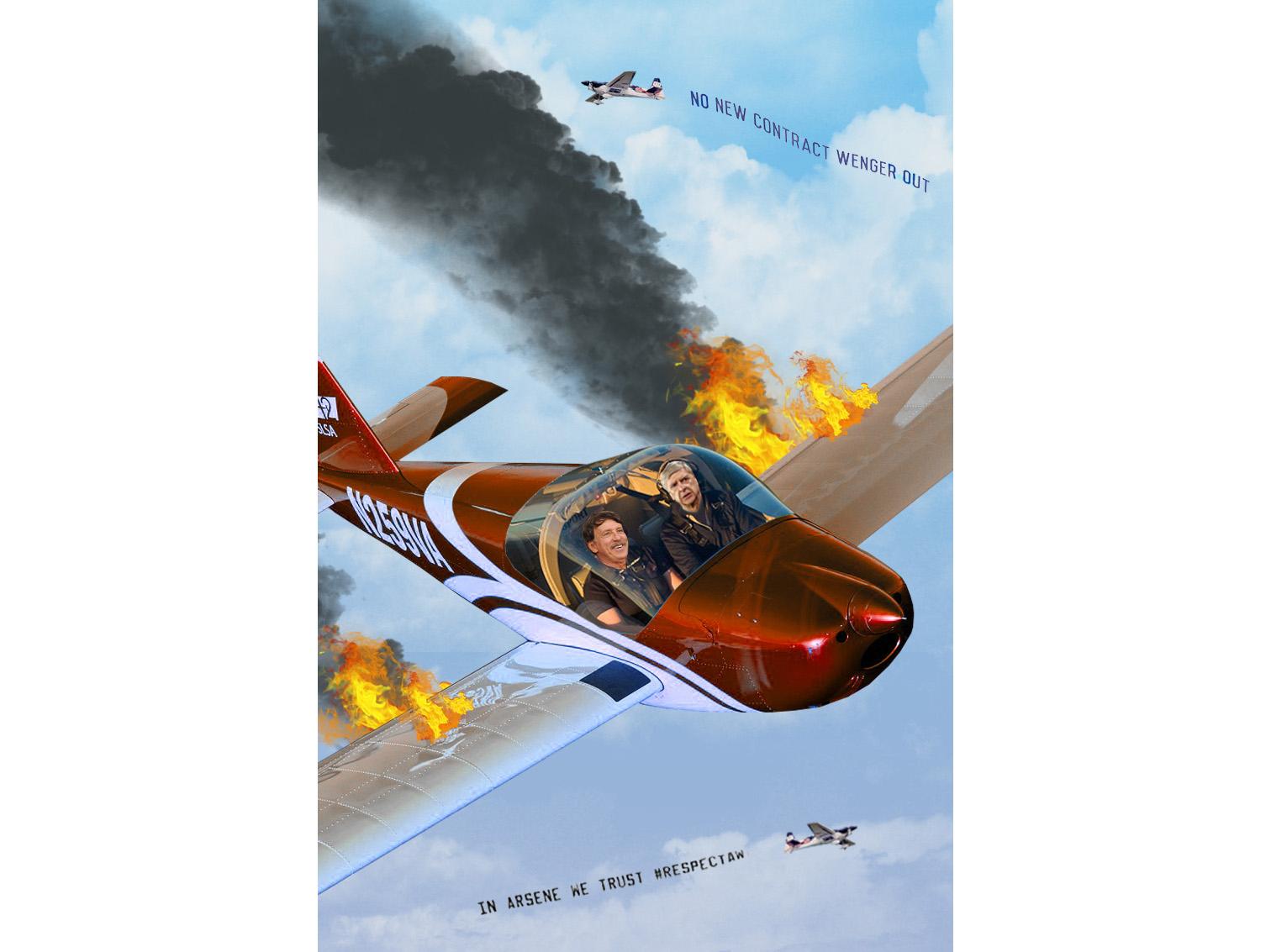 Published: Magazine Arsenal Illustration stan kroenke arsene wenger plane turmoil graphic design photoshop football sport arsenal magzine design