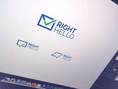 RightHello - logo concepts logo emblem mark branding brand icon sign symbol identity design logotype logo design