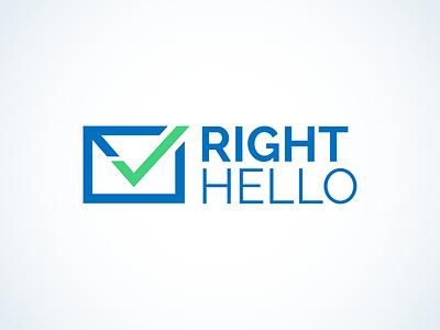 RightHello logo emblem mark branding brand icon sign symbol identity design logotype logo design