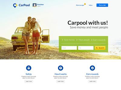 CarPool landing page web landing page clean light web design photo sea background ui layout