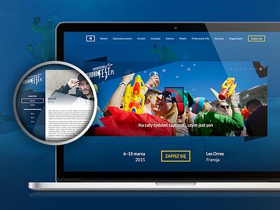 MusicFest web website portal winter dark web design ui layout