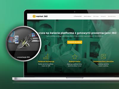 Market 360 layout ui web design light green clean landing page web