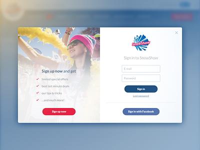 SnowShow sign up pop-up sketch sketch app login sign up call to action cta web webdesign popup pop-up ux ui