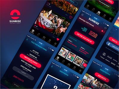 Sunrise Festival iOS app music flat iphone mobile app screens dark festival ui ux app ios