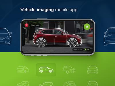 Vehicle imaging mobile app tool design layout mobile interface ux vehicle imaging car rental business enterprise line art custom camera app automotive auto iphonex iphone ios ui