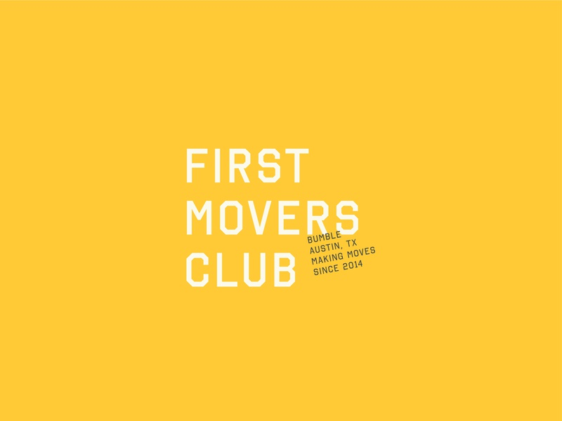 First Movers Club design lockup yellow bumble branding typography logo