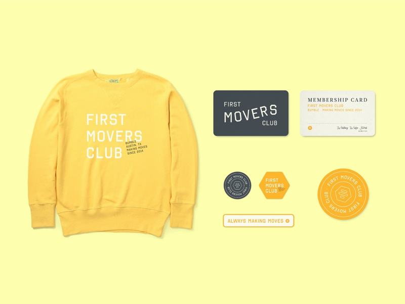 First Movers Club Merchandise typography bumble lockup design yellow membership card sticker badge logo club identity branding