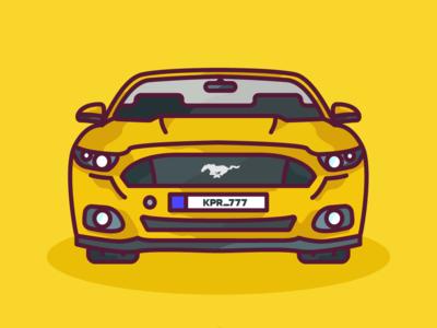 Mustang illustration vector flat design art 2d artist 2d art 2d