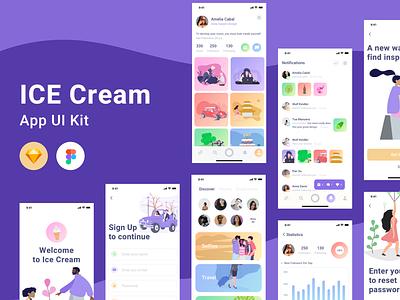Ice Cream UI Kit coral ios illustration flat design app minimal clean ux ui