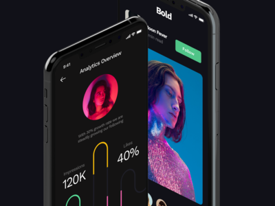 Bold UI dark flat design app minimal clean ux ui
