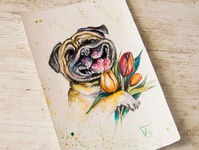 dog with the tulips, watercolor postcard