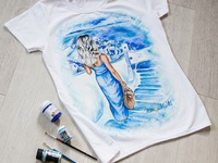 Hand-painted t-shirt for a girl from her photo,