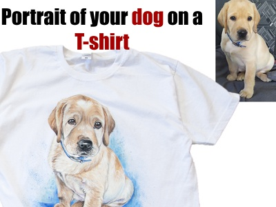 portrait of your dog on a T-shirt drawing illustration style paint wear fashion hand-painted handmade design painting