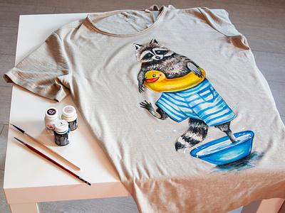 custom t-shirt, hand-painted t-shirt, raccoon print illustration art apparel wear paint fashion hand-painted handmade design painting