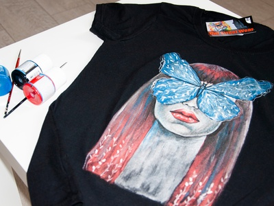 hand painted t-shirt, suede paint, girl with a moth drawing apparel illustration paint wear style fashion painting design handmade