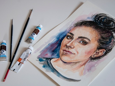 watercolor portrait from photo aquarelle girl picture watercolor portrait illustration hand-painted painting